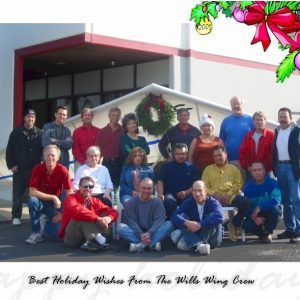 The Wills Wing Crew, 2005: Back row, l-r: Tim Lowry, Tom Blaty, Rob Kells, Ken Howells, Linda Meier, Paul Diehl, Eva Hanska, Rick Zimbelman, Gary Smith, Moises Cortes. Middle row, l-r: Mike Meier, Martha Diorio, Narcisa Hartsch, Carlos Mendosa, Miguel Moreno, Martin Maldonado. Front row, l-r: Peter Swanson, Bill Blaty, Steven Pearson. (Not pictured: Chris Wills)