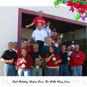The Wills Wing Crew, 2007: Top: Rob Kells. 2nd Row , l-r: Steven Pearson, Linda Meier, Paul Diehl. Standing , Rear, l-r: Anthony Faletoi, Tom Blaty, Rick Zimbelman, Mike Meier, Peter Swanson, Moises Cortes, Mitch McAleer. Standing, Front row, l-r: Martin Maldonado, Narcisa Hartsch, Carlos Mendosa, Eva Hanska, Gary Smith, Bill Blaty. (Not pictured: Chris Wills, Ken Howells)
